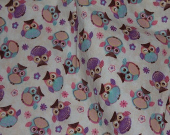 Blue, Purple, and Pink Owl and Flower Crib Toddler Bed Fitted Sheet