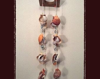 Sea Shell Wind Chime/Suncatcher #30--Orange Calico Scallops, Nauticas, Crystals, Beads, Beach Theme, Coastal Theme, Nautical Theme