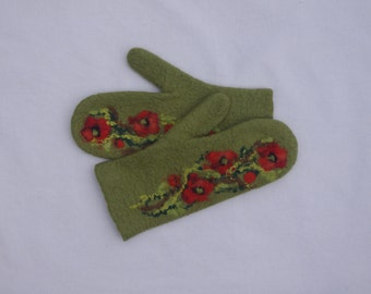 Felted Mittens Merino Wool Olive green Red Poppies