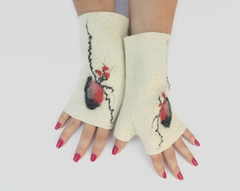 Felted Fingerless Gloves Fingerless Mittens Arm warmers Wristlets Merino Wool White