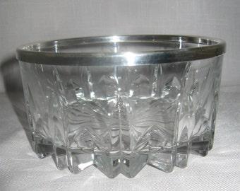 By Leonard Italy Genuine Crystal Deep Cut Glass Sauce Fruit Bowl Silver Rim