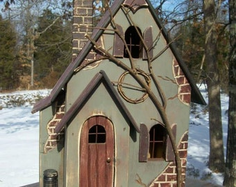 Fairy House, Fairy Garden House, Primitive Lighted House, Birdhouse ~  Comes w/ light and cord ~ Whimsical ~ Birdhouse ~ Hobbit ~ Gnome