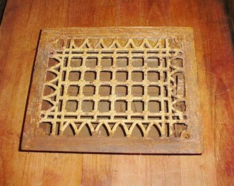 Antique Grate Floor or Wall Heat Register Vent Room Heater Vintage 1800s Fancy Victorian Cast Iron 12 X 8 Hole