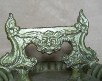 REDUCED-Antique Cast Iron Boot Scraper with Tray--Painted Green--North Wind or Evil Man's Face-Figural Side Dauphins