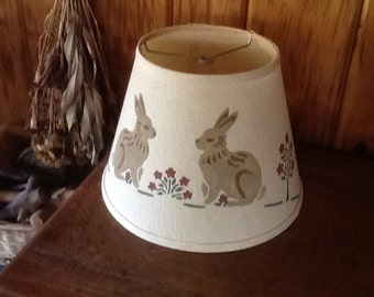 Vintage Lamp Shade Bunny Rabbits Adorable Kitschy Country Home Decor Electric Lighting