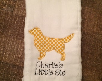 Personalized Golden Retriever Burp Cloth