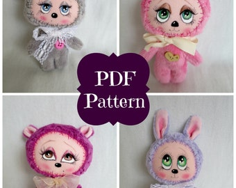 PDF Sewing Pattern Miniature Teddy Kitten Mouse Bear Softie Plush Tutorial