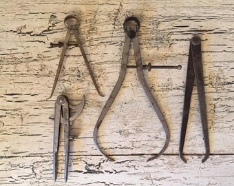 Lot of Vintage Compasses and Calipers - Rustic, Darkened Drafting Tools - Instant Collection