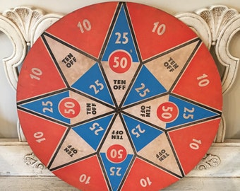 Vintage Dart Game Board - Pressboard Wall Hanging - Red, White, Blue - Distressed