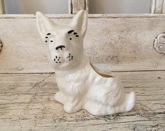Vintage White Westie Terrier Ceramic Planter