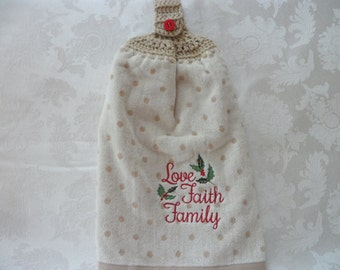 Hanging Double Kitchen Towel Holly LeaveTowel Christmas HangingTowel Crochet Hanging Kitchen Holiday Towel