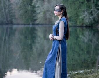 Blue Fairy woodland elf viking princess over dress medieval costume Halloween LARP