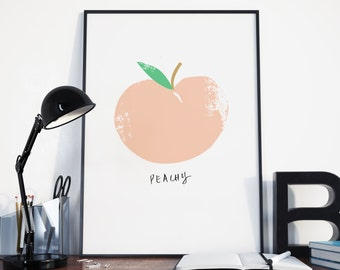 Peachy Fruit Print | A4 giclee print | Wall Art | Home Decor | Gift |