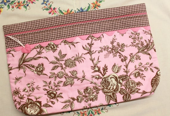 LOTS2LUV Pink Brown Toile  Cross Stitch Embroidery Project Bag