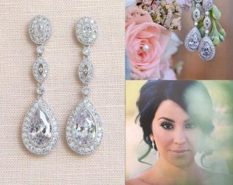 Crystal Bridal Earrings, Rose Gold Wedding Earrings, Long Dangle, Yellow Gold, Swarovski, Bridal Jewelry, Christine Vintage Earrings