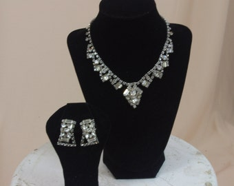 60s Rhinestone Choker * Rhinestone Earrings * Rhinestone Necklace * Rhinestone Clip on Earrings * 60s  Necklace