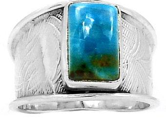 Size 8. PERUVIAN opal CUFF RING. Deep Indigo & Spearmint.
