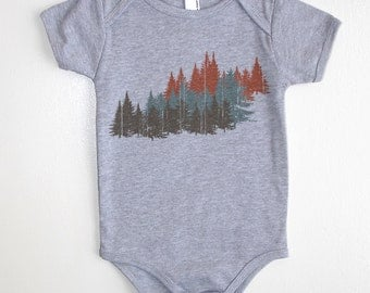 Colorful Forest Baby Onesie - American Apparel Baby Outfit - Available in 3-6MO, 6-12MO, 12-18MO