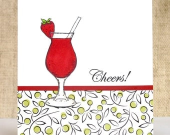 All Occasion Card, Cheers, Strawberry Drink, Handmade Cards