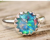 SALE Genuine Australian Opal Ring,Mosaic Opal Triplet Ring,Sterling Silver Opal Ring,Round Silver Crown Bezel Setting,Gemstone Ring,Birthsto
