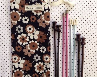 Long Knitting Needle Bag/Knitting Organizer/Zip Pouch, Brown and White Flowers on Black