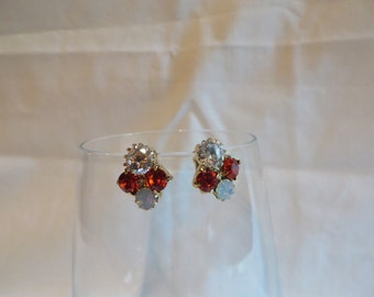 Cubic Zirconia Gold Clip On Earrings