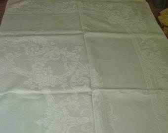 """Lovely Vintage Irish Linen Double Damask Tablecloth, White, 62 x 79"""""""