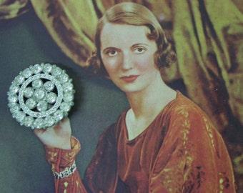 "Big Dramatic Vintage Rhinestone Button 1 7/8"""