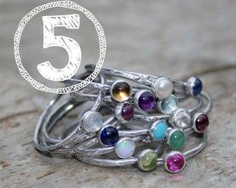 FIVE Birthstone Stacking Rings. Mom Jewelry, Mommy Rings, Stackers, Gemstones and Sterling Silver. Made To Order Custom Mommy Rings.