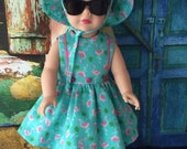Custom Couture 18 Inch Doll Clothing-1950's Style Flamingo Dress and Hat