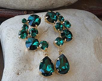 Emerald stud and drop cluster earrings. Green teardrop earrings. Statement earrings. Swarovski rhinestone earrings. Chandelier Earrings.