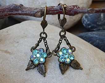 Leaf earrings. Antique turquoise earrings. Ice blue swarovski earrings. Brass and crystal earrings. Vintage style blue earrings for bride