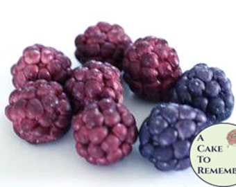 12 unwired gumpaste raspberries for cake decorating or cupcake decorating, gumpste blackberries for rustic wedding cake toppers