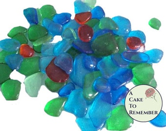 3 oz. edible sugar sea glass, edible decorations for beach themed cake decorating, mermaid cakes, cupcake decorating, under the sea cakes