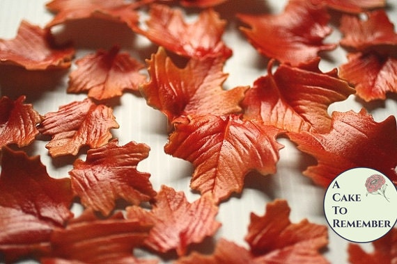 12 Gumpaste autumn leaves for fall wedding decor, autumn cake decorations, fall cupcakes, rustic fall weddings, and woodland wedding cakes