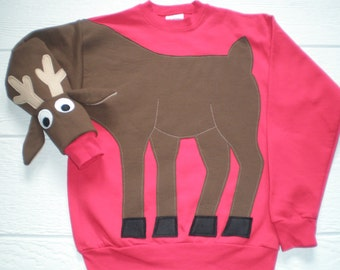 Kids Rudolph the Red Nosed Reindeer sweatshirt, Deer sweatshirt, deer shirt, Christmas sweater, Christmas sweatshirt, children sizes