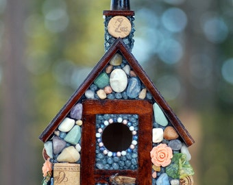 Stone Birdhouse Eco Friendly Cottage: Wine corks, colorful river stones, and coastal agates