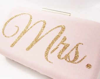 Mrs clutch  Blush Clutch Gold glitter Mrs personalized clutch Wedding Clutch Bridal Gift  Bridal clutch Blush Wedding Clutch  gold ivory Mrs