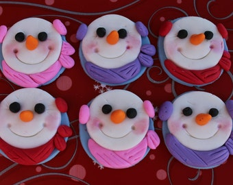 12 Fondant cupcake toppers--snowman, snowmen