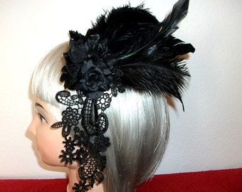 Gothic Fascinator - roses and feathers