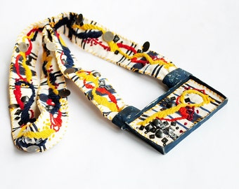 Implosion - contemporary, pop art, statement chunky, fabric textile, big colourful, ethnic, hand embroidered, modern navy necklace