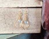 Sundance Style Satin Gold Vermeil Arabesque Earrings with Faceted Aquamarine Dangles - Graceful, Feminine Earrings, March Birthstone