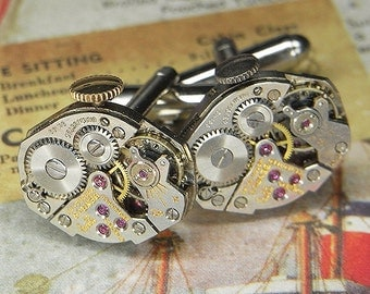 Steampunk Cufflinks Cuff Links - TORCH SOLDERED - Vintage Silver BENRUS Watch Movements w Crowns - Wedding Anniversary Gift - Stunning