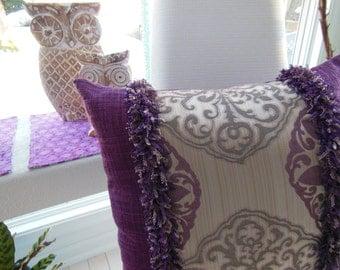 Purple Pillow - Plum Damask Pillow - Large Designer Pillow -  Eggplant Purple Plum - Reversible 18 x 18 Inch - Pillow Insert Included