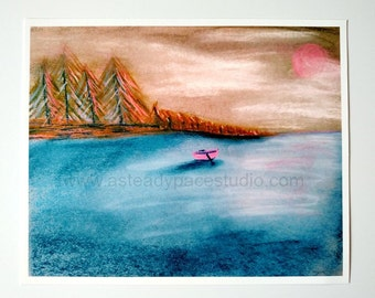 Find Stillness, Be Still 8 x 10 Art Print - peaceful water and boat - reproduction of original landscape drawing - art, decor, nature