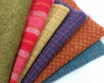 Wool Fabric for Rug Hooking and Applique, Country Brights Medley, 6) Fat Sixteenths, 998