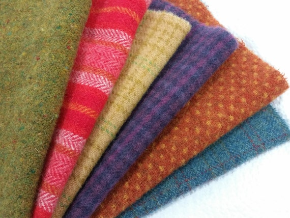 Country Brights Medley, Wool Fabric for Rug Hooking and Applique, 6) Fat Sixteenths, J998