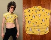 vintage 90s girls cat shirt 1990 half shirt crop top allover cat print pattern sleeveless blouse Girls Fashions XS XXS girls 10
