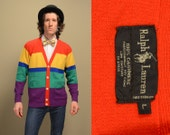 vintage 80s 90s sweater Polo Ralph Lauren rainbow stripe cashmere cardigan 1980 1990 preppy trad hip hop street style large L