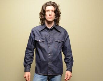 vintage 70s denim jacket shirt-jac Christopher Rand disco work western jean jacket butterfly collar 1970 indigo denim M medium